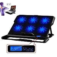 "TOPAUP Laptop Cooler with 6 Fans 1 USB Ports Blue LED Light Adjustable Laptop Cooling Pad Stand for 14""-16"" Laptop Black"