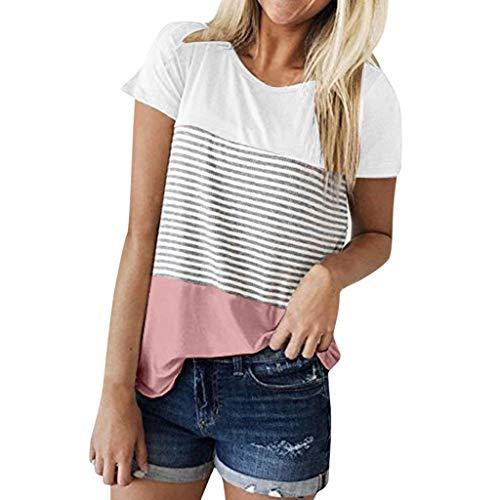 iHENGH Damen Top Bluse Bequem Lässig Mode T-Shirt Frühling Sommer Blusen Frauen Kurzarm Triple Color Block Streifen T-Shirt Lässige Bluse(Rosa, M)
