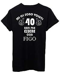 Idea Regalo - iMage T-Shirt 40 Anni per Diventare Figo Compleanno Regalo - Eventi - Uomo-XL-Nera