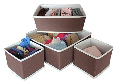Misslo Set of 4 Foldable Storage Drawer wardrobe Dresser Organiser Bins, Coffee
