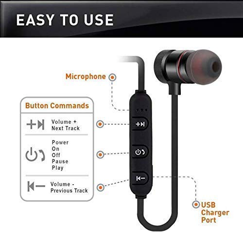 Lowfe Bluetooth Earphone Wireless Headphones Sports Stereo Music Jogger,Working, Gym Bluetooth Headset Compatible with All Smartphones Image 2
