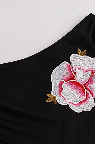 Babyonline- Damen Elegant One shoulder Rockabilly Kleid Blumenstickerei Knielang Gr.S~4XL Schwarz