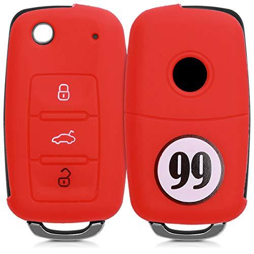 kwmobile Accessoire clé de Voiture pour VW Skoda Seat - Coque pour Clef de Voiture VW Skoda Seat 3-Bouton en Silicone Noir-Blanc-Rouge - Étui de Protection Souple