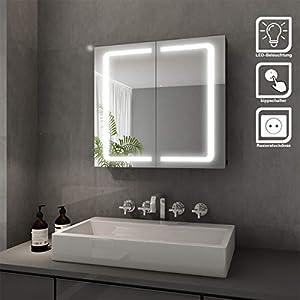 Elegant Bad Spiegelschrank mit Beleuchtung LED Licht Badezimmer Spiegelschrank Bad Hängeschrank mit Steckdose und Kippschalter 2 türig Badezimmerschrank 70 x 65 cm