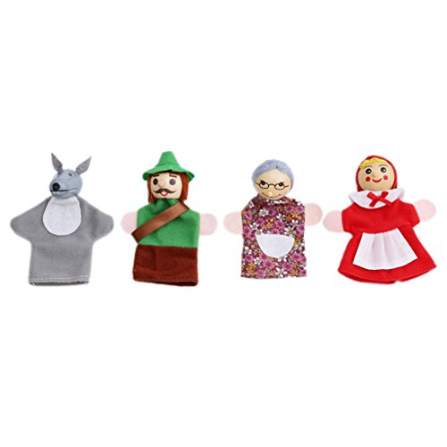 VWH 4 Stück weichen Plüsch kleine rote Hut Puppen Set erzählen Geschichte Spielzeug - Wolf Jäger Großmutter