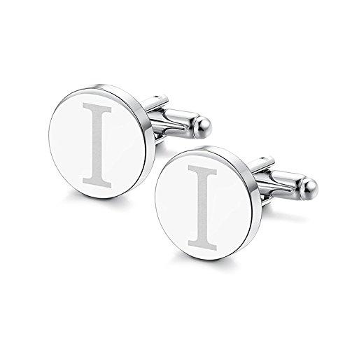 Sailimue Klassische Manschettenknöpfe für Männer Gravierte Initiale Manschettenknopf Alphabet Buchstaben A-Z Cufflinks