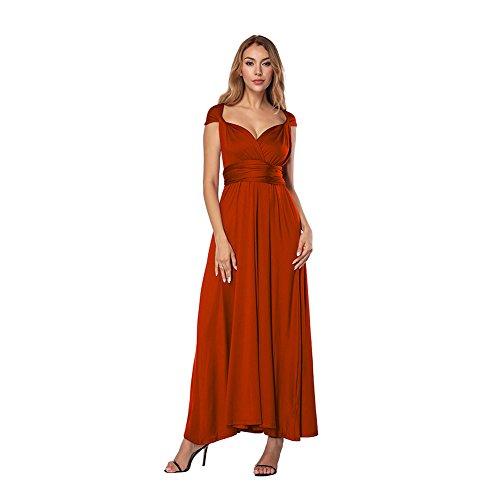 FeelinGirl Damen Chiffon Spaghetti Strap Tief V Ausschnitt Hoher Schlitz Strandkleid Maxi Kleid