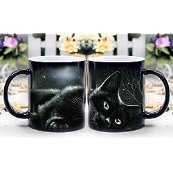 Magic taza–calor sensible cambio de color taza de café–gato negro en Moonlight aparece por arte de magia