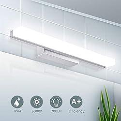 Lampe Miroir LED, SOLMORE Applique Salle de Bain 40CM 6000K 700LM Miroir LED Lampe Miroir pour Salle de Bain Applique LED 8W Lampe Salle de Bain Moderne IP44 Blanc Neutre