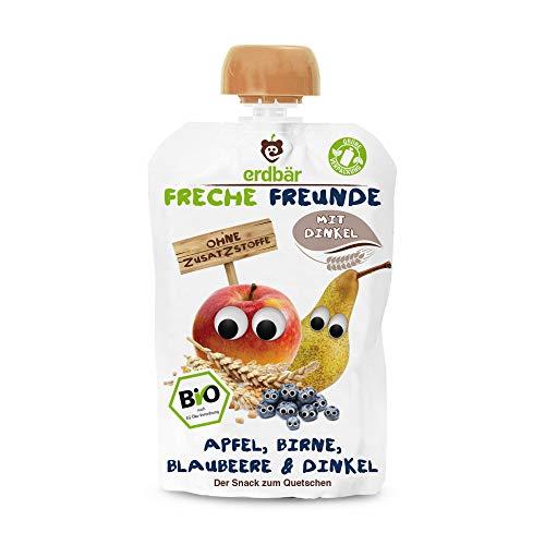 """Freche Freunde Bio Quetschie \""""Apfel, Birne, Blaubeere & Dinkel\"""", ohne Zuckerzusatz, Frucht-Babybrei mit Dinkel, Fruchtmus für Babys ab 1 Jahr, 6er Pack (6 x 100 g) 6er Pack (6 x 100 g)"""