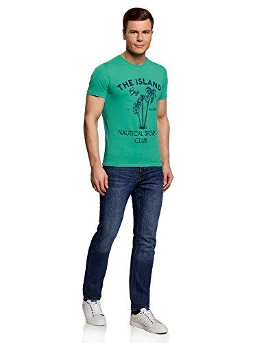 oodji Ultra Herren Baumwoll-T-Shirt mit Palmen-Druck Grün (6579P)