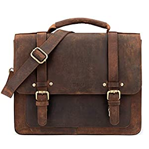 41pX%2BtPRDXL. SS300  - LEABAGS Omaha maletín de auténtico Cuero búfalo en el Estilo Vintage - Negro