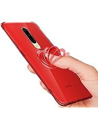 Funda de anillo Pop-Up compatible con Oneplus 7 Pro 7/6T Clear Liquid Crystal funda transparente TPU silicona Case 360° dedo anillo Standing magnético funda multicolor rojo 7 Pro