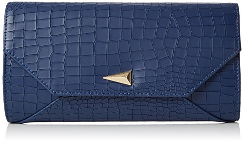 SwankySwans Damen Bruni Croc PU Leather Clutch Bag Navy Blue Tasche, Blau (Marineblau), One Size (Clutch Croc Handtasche)