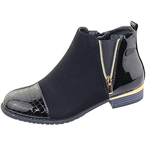 Da donna stivali alla caviglia donna deserto Stampa Coccodrillo con Cerniera Alto Trainer scarpe invernali taglia