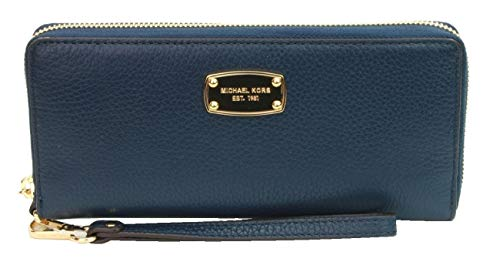 Michael Kors Navy Blue Leather Jet Set Travel Continental Zip Around Wallet Wristlet