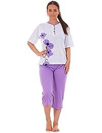 Ladies Cropped Pyjama Set 100% Cotton Floral Dot Printed V Neck Capri S to  XXXL 4f044d9e8