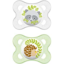 542420 Dummies MAM originales libres de BPA silicona con diseños unisex para Meses Edades 0-6 [Paquete doble en surtidos colores]