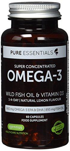 Pure Essentials Aceite de Pescado Salvaje Omega-3 410 mg EPA y 250 mg DHA por cápsula y Vitamina D3, sabor...