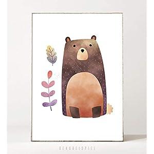 DIN A4 Kunstdruck Poster WALDFREUNDE: BÄR -ungerahmt- Bär, Kinderzimmer, skandinavisch, Waldtier, Blätter