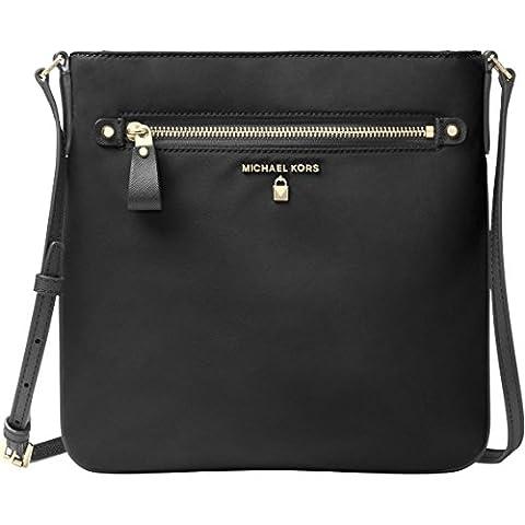 Michael Kors 32F7GO2C3C Kelsey Damen Nylon Large Cross-Bodybag Umhängetasche Schultertasche Crossbag (black)