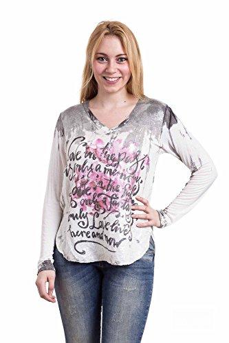 Abbino Eleonora Shirts Damen Tops - Made in Italy - 3 Farben - Übergang Frühling Sommer Herbst Basics Damenshirts Damentops Viskose Unifarben Locker Lässig Fashion Freizeit Elegant - One size Weiß