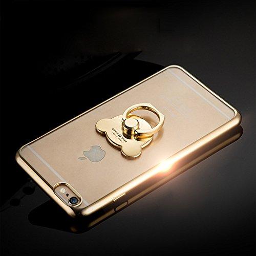 Custodia iPhone 6S Plus, Cover iPhone 6 Plus, iPhone 6/6S Plus 5.5 Custodia Silicone, JAWSEU Moda Fiore Rosa Lusso Diamante Cristallo di Bling Custodia per iPhone 6S/6 Plus Protectiva Bumper Elegante  Oro + Anello di Orso