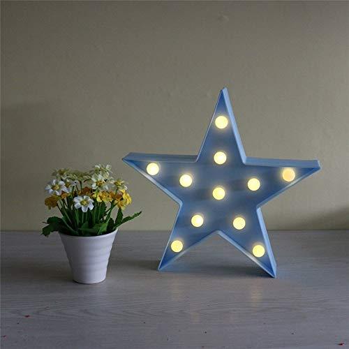 Süße LED Nachtlichter Stimmungslicht Schreibtischlampen Babyzimmer Kinderzimmer Dekorationen Geschenke (Stern, Blau) (Blaue Led Rückseite Licht-lampen)