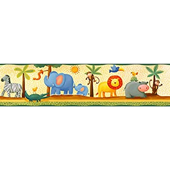 RoomMates Repositionable Childrens Wall Sticker Border Jungle Adventure