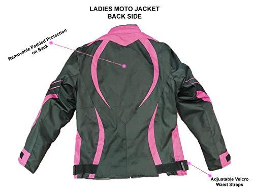 Juicy Trendz Damen Motorradjacke Frauen Wasserdicht Cordura Textil Motorrad jacke Pink Large - 3