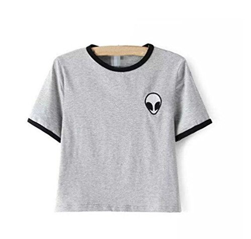 YouPue Damen T-Shirts Aliens Druck Kurzarm Crop Tops Sommer Grau (Weichen Aliens T-shirt)