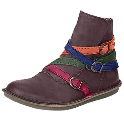 Allence Kunstleder Stiefeletten Herbst Vintage Schnürschuhe Damen Bequeme Flache Fersenstiefel Reißverschluss Kurzer Boot -