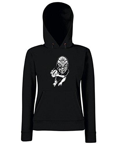T-Shirtshock - Sweats a capuche Femme TRUG0117 maori rugby player logo Noir