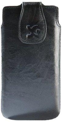 Original Suncase Echt Ledertasche (Magnetverschluss) für Huawei Ascend P1 wash-schwarz