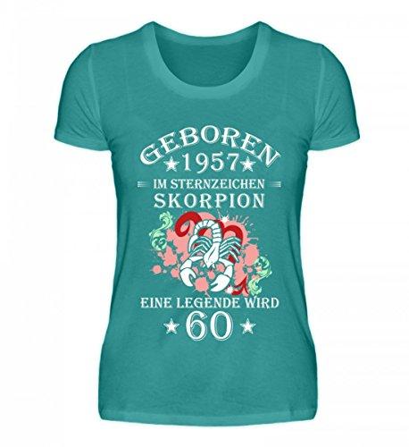 Shirtee Hochwertiges Damen Organic Sternzeichen Skorpion Wird 60 Atollblau