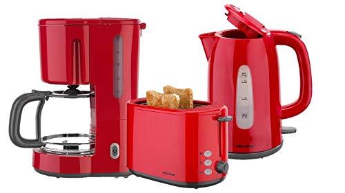 Frühstücksset 3-teilig Filterkaffeemaschine Wasserkocher Toaster Set ROT