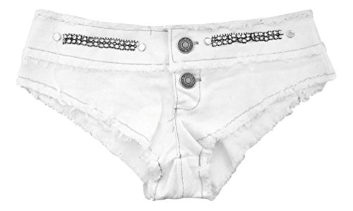 Denim Shorts Mini Hotpants mit Strass Weiß