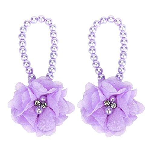 YUAN 1Pair Säuglings-Perlen-Chiffon- Barfuß-Kleinkind-Fuß-Blumen-Strand-Sandelholze Purple