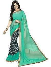 Pramukh Saris Women's Georgette Saree With Blouse Piece (Pa4T3_Blue-Black)