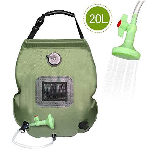 PERFETSELL Solar Dusche Tasche 5 Gallonen/20L Tragbare Camping Dusche Tasche Solar Heizung Outdoor Warmwasser Dusche Gartendusche Reisedusche mit Duschkopf & On-Off Switchable Wandern Wassersack -
