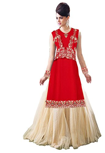 Justkartit Women's Red & Cream Colour Lehenga Style Wedding wear Dress Material...