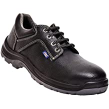 (CERTIFIED REFURBISHED) Allen Cooper AC-1284 Safety Shoe, ISI Marked for IS 15298 Part-2, Double Density DIP-PU Sole, Size 7, BLACK