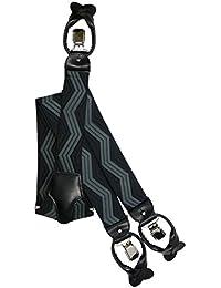 Bretelles Haute Qualite pour Bouton et Clip fixation avec Cuir Naturel, 3.5cm