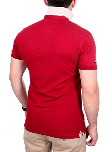 Reslad Polo-Shirt Herren Poloshirt Kontrast Polo-Kragen Kurzarm-Shirt RS-5204 Bordeaux