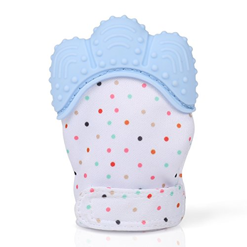 Preisvergleich Produktbild Baby Zahnen Handschuh, Volador Baby (3-18 Monate)Teething Mitten, Mittens Neugeborenen Beiß Silikon Zahnen Schmerzlinderung