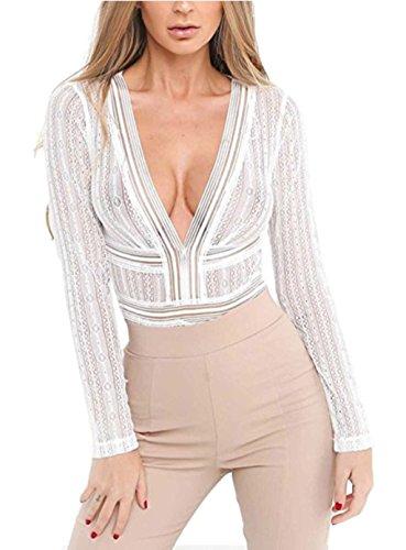 ASSKDAN Damen Bodysuit Elegant Langarm Rückenfrei Transparent Oberteile Overalls Spitze Dessous Strappy Unterwäsche (Weiß, 40)