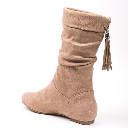 Ideal Shoes Pietrina Stivali effetto camoscio con frange sul lato posteriore Beige