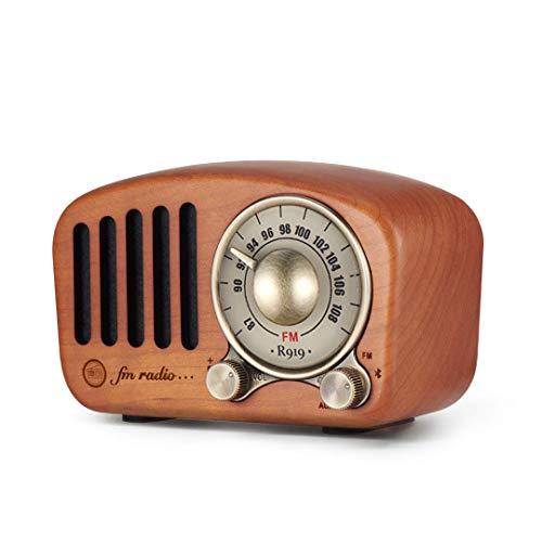 Altavoz Radio FM Bluetooth Portatiles, Mini Reproductor de Música Mp3 Radio Portátil Vintage Retro Madera Incorporada Batería Recargable, MC USB y Entrada Auxiliar 3.5mm Cable, TF Tarjeta Enchufe