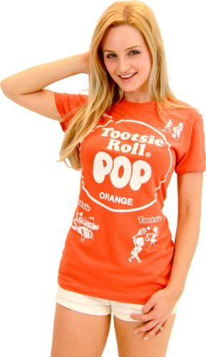 Tootsie Roll Pop Assorted Orange Kostüm T-Shirt (Orange) (Junior - Tootsie Roll Pop Kostüm