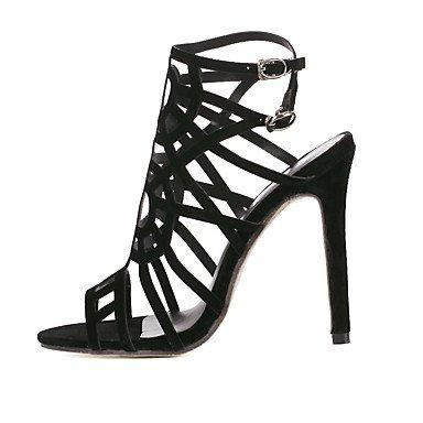 Moda Donna Sandali Sexy donna tacchi Comfort estivo Casual in pelle Stiletto Heel fibbia altri nero Black